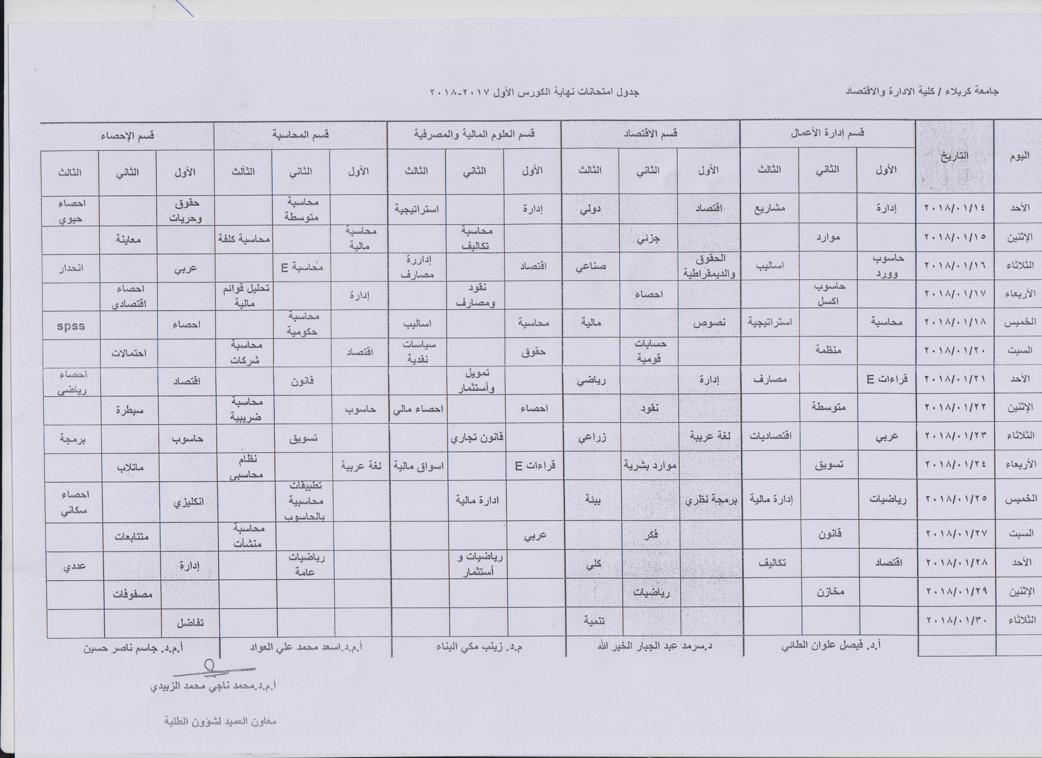 جدول امتحانات نهاية الكورس الاول للعام الدراسي 2017-2018 لكافة الاقسام العلمية