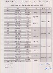 جدول الامتحان النهائي العملي للكورس الاول لطلبة الاقسام العلمية للعام الدراسي (2019 – 2018) للدراستين الصباحية والمسائية